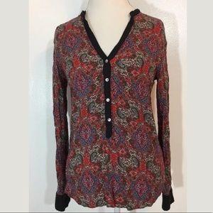 Zara Red Paisley Blouse Sz M